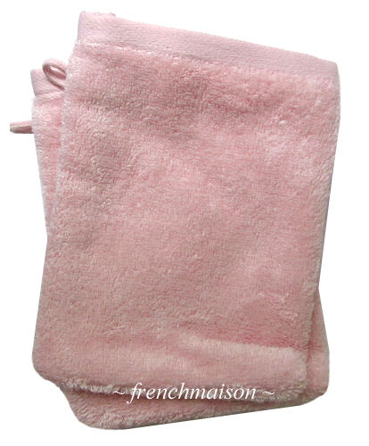 2 Garnier Thiebaut Gant Mitt Washcloth FRENCH TOWEL Antibacterial Soft ROSE Pink
