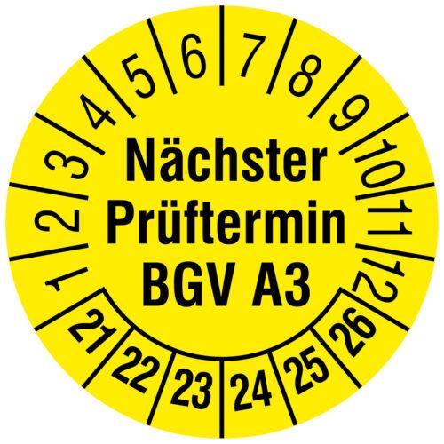 Prüfplaketten Prüftermin BGV A3 21-26 Ø 30mm Folie 144 Prüfetiketten gelb