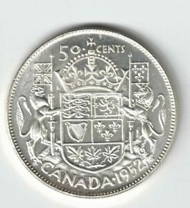 CANADA-1952-NARROW-DATE-50-CENT-HALF-DOLLAR-GEORGE-VI-CANADIAN-800-SILVER-COIN