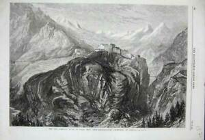 Original-Old-Antique-Print-Mont-Cenis-Railway-Fort-L-039-Esseillon-Brabans-1869-Art