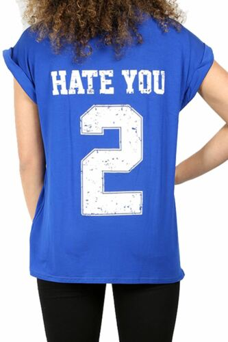 Womens Ladies Hate You 2 Back Print Oversized Baggy Turn Up Cap Sleeve T Shirt