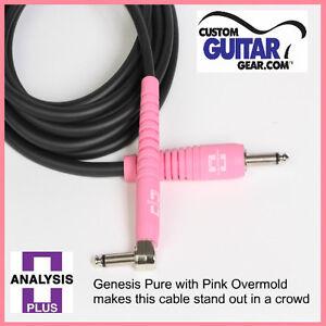 Analysis-Plus-12ft-GENESIS-PURE-BLACK-PINK-Guitar-Cable-w-STR-ANGLE-Plugs