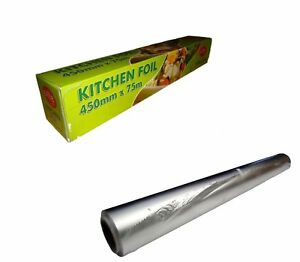 6 x ALUMINIUM KITCHEN / CATERING TIN FOIL 450mm x 75m 18'' Food use