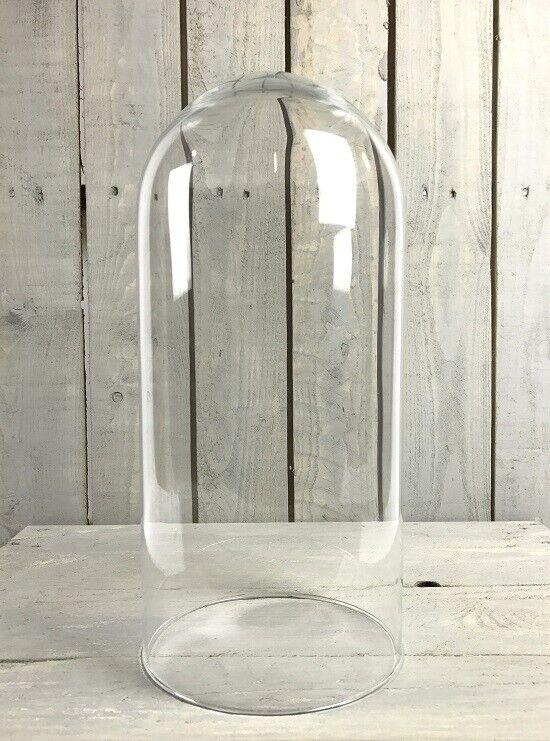 Hecho a Mano Soplado Transparente Circular Pantalla de Cristal Campana Curvado