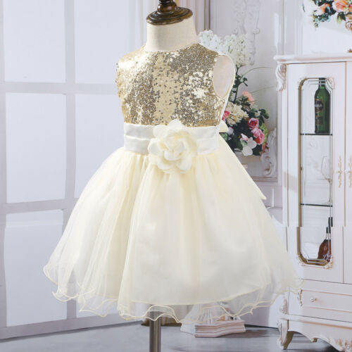 Baby Flower Girls Dress Sequins Princess Formal Party Wedding Bridesmaid Gown