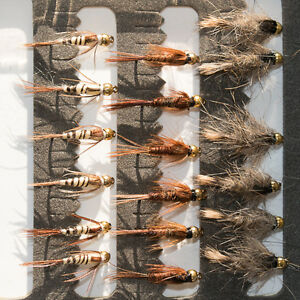18-Gold-Head-Nymphs-Trout-Fly-fishing-Flies-GRHE-Pheasant-Tail-amp-Walkers-Mayfly