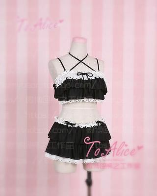 Kawaii Girl Lolita Cute&Sexy Falbala Layers Bikini Swimwear Swim Suit Pink/black