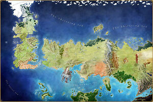 Game of thrones world map poster huge 120cmx80cm song of ice image is loading game of thrones world map poster huge 120cmx80cm gumiabroncs Gallery