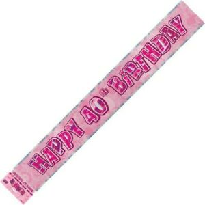 GLITZ-PINK-FOIL-BANNER-40TH-BIRTHDAY-HANGING-DECORATION-PARTY-SUPPLIES
