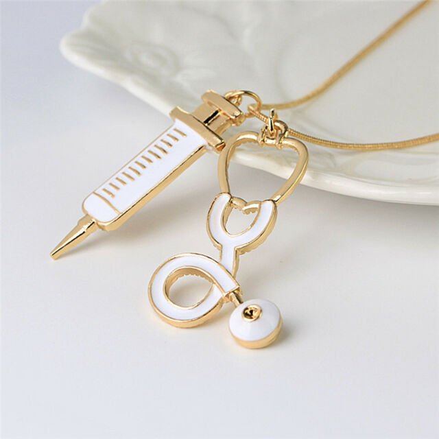 Alloy Medical Stethoscope Syringe Charm Pendant Necklace Chain Women Jewelry.NME