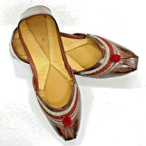 Rare-Women-Pure-Leather-Jutti-Mojari-Sandle-Shoe-Handmade-Traditional-US-Punjabi