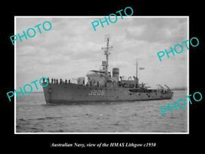 OLD-8x6-HISTORIC-PHOTO-OF-AUSTRALIAN-NAVY-SHIP-HMAS-LITHGOW-c1950