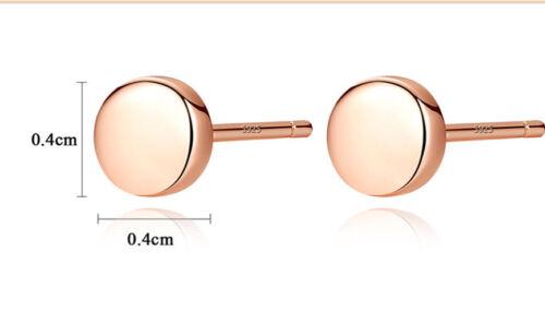 NEU 925 Sterlingsilber Rosegold Ohrstecker Glanz 4mm Rund Unisex Ohrringe