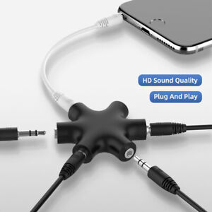 3.5mm Audio Aux Cable Splitter 1 Male to 5  Female Port 3.5 Jack Share Adapter