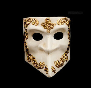 Maschera Di Venezia Bauta Dorata E Bianco Autentica Veneziano 275