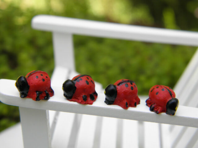 "Miniature Dollhouse FAIRY GARDEN Accessories ~ Set of 4 TINY ⅜"" Ladybugs ~ NEW"