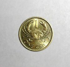 1997 Seychelles 1 cent, Mud crab, animal wildlife coin