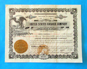 STOCK-CERTIFICATE-UNITED-STATES-CASHIER-COMPANY-Famous-1915-Stock-Fraud-Case