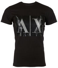ARMANI EXCHANGE Mens T-Shirt BOX LOGO Slim BLACK Casual Designer $45 Jeans NWT