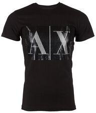 ARMANI EXCHANGE Mens T-Shirt BOX LOGO Slim BLACK Casual Designer $45 Jeans NWT