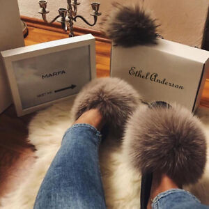 d787e3ac75c15 Details about Chic Real Plush Fox Fur Slipper Luxury Indoor Outdoor Slides  Fur Shoes Wholesale