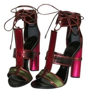 6f7a8bfeac6c Auth NIB TOM FORD Patchwork Cage Sandals Metallic Velvet Strappy ...