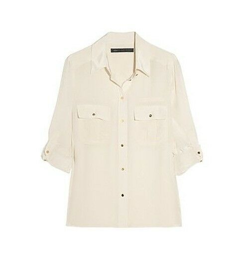 Marc By Marc Jacobs Simone Silk Cargo Blouse (Shirt) in Cream, Sz. M US 6, BNWOT