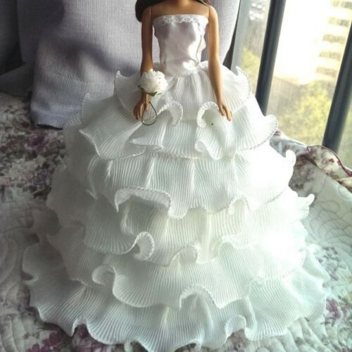 """11/"""" Doll Dress Handmade Beauty Doll Wedding Party Bridal Gown Dress Doll Clothes"""