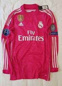 reputable site ef3b0 fd8ba Details about Real Madrid 14/15 adizero Ronaldo pink away jersey shirt Bale  Ramos James LS