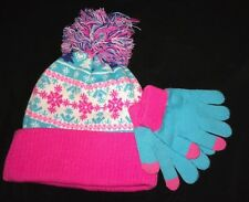 49eb0ded3f2 girls size 4 to 6X PINK PLATINUM NEW NWT winter HAT GLOVES set SNOWFLAKES  cute