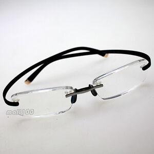 Rimless Reading Glasses Plastic Black Frame Anti Eye ...