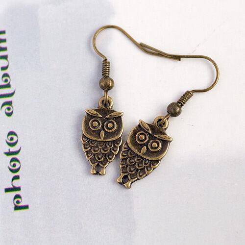 Fashion Jewellery Funky Antique Bronze Little Owl Earring