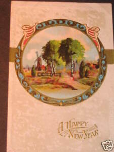 image is loading antique 1917 dutch windmill scene happy new year