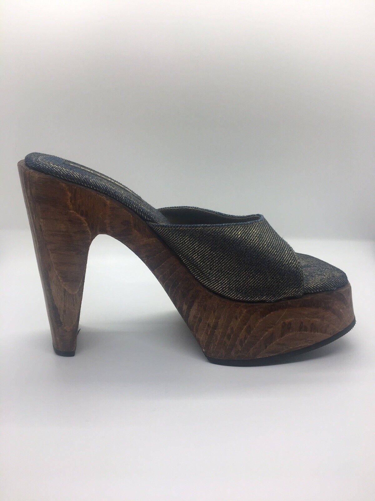 CANDIE'S Vintage 1990's Denim Platform Block Heel… - image 3