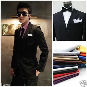 26x-hommes-Silk-Satin-mouchoir-poche-carre-mouchoir-originale-mariage-solide