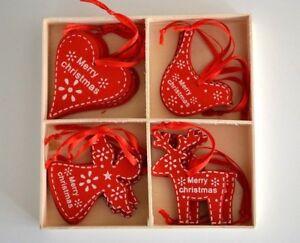 Christmas tree decorations. Nordic red / white angel, bird, reindeer & heart (E) | eBay