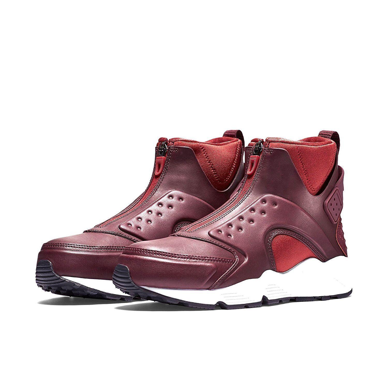 Nike Women's Air Huarache Run MID - 7.5 (Black/Bright Crimson) 807313-600