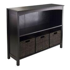Display Shelf Organizer Unbranded Wood Storage Cabinet W 3 Baskets ...