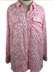 APT-9-Woman-blouse-top-size-1X-long-sleeve-pink-white-2-pockets-polyester