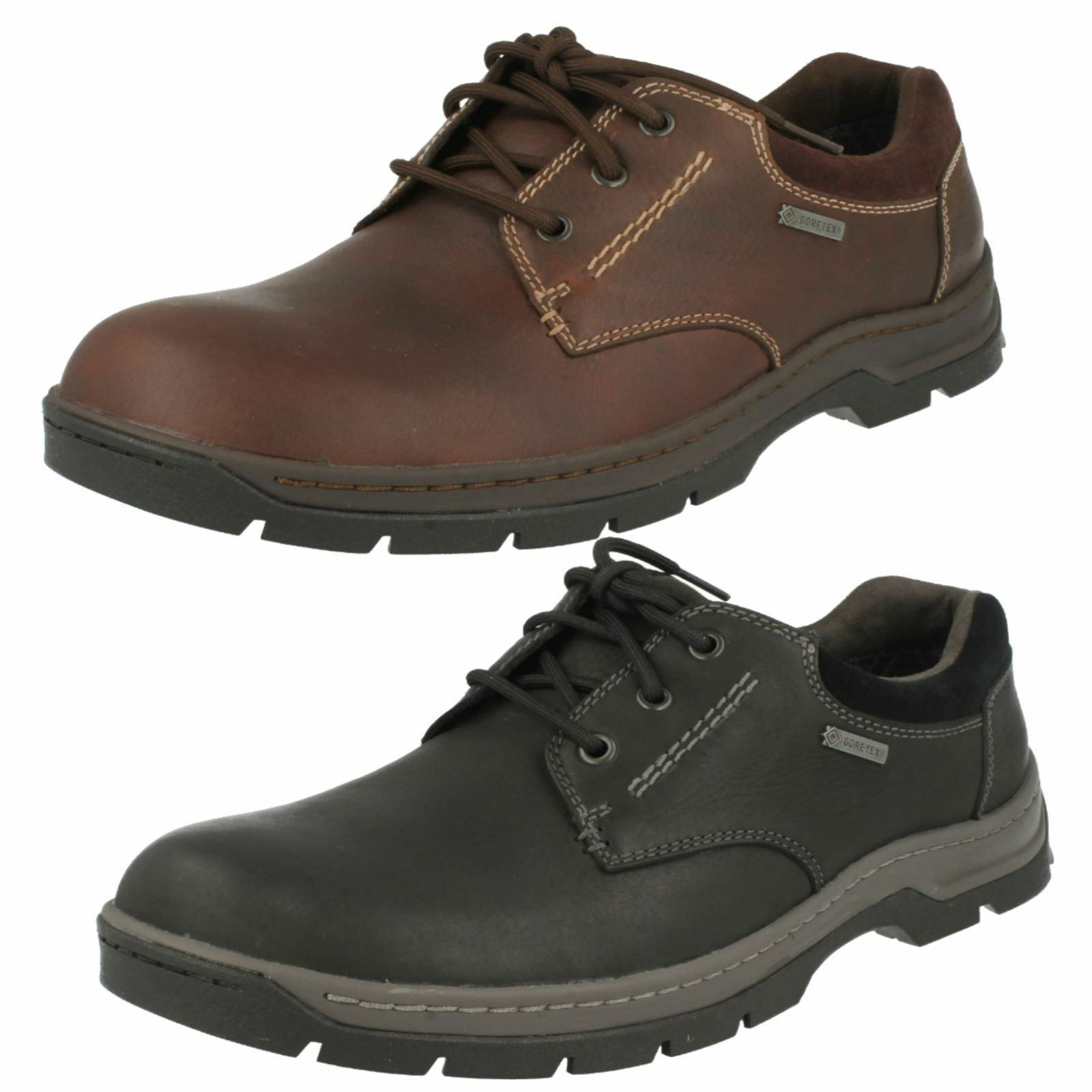 Mens Clarks Stanten Walk GTX Leather Lace Up Waterproof shoes G Fitting