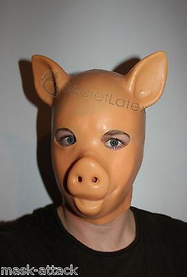 LATEX FLESH GUM FETISH PIG PIGLET FULL HEAD RUBBER HOOD GIMP GUMMI MEN MASK
