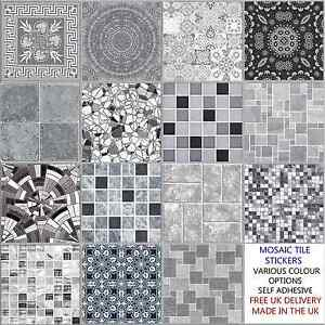 Superb Image Is Loading Grey Mosaic Tile Stickers Transfers Kitchen Bathroom 6  Part 13