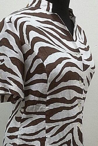 Bluse Gr Röllbacher leinen 36 40 damen stehkr V Mode ausschnitt Zebramuster nIqI6rP