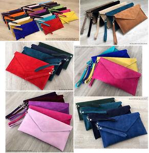 Over-Size-Large-Envelope-Clutch-Bag-Evening-Genuine-Real-Suede-Leather-Shoulder