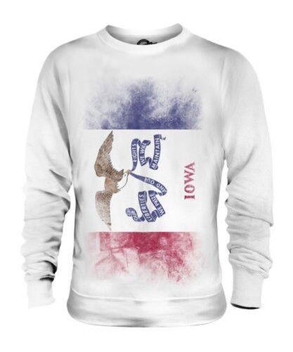 Iowa État Décoloré Drapeau Unisexe Pull Iowan T-Shirt Jersey Cadeau