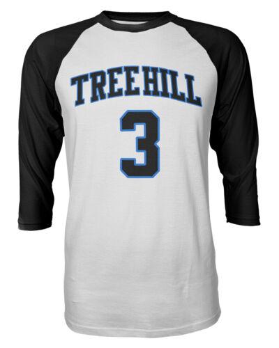One Tree Hill Lucas Scott Front /& Back #3 Mens Raglan Quarter Sleeve T-Shirt