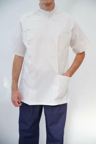 White NHS Male Nurse Uniform Men stud Tunic Men Healthcare top Carehome