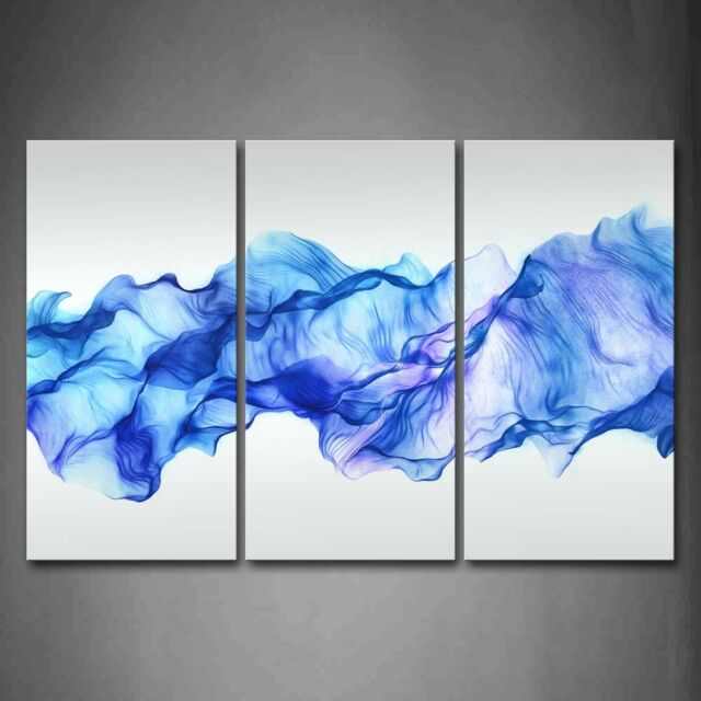 Artistic Abstract Blue Like Wave Wall Art Painting Pictures Print on ...