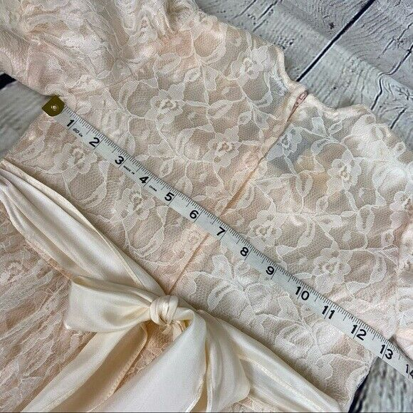 Gunne Sax girls lace dress cream shortsleeved - image 3