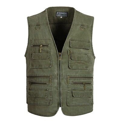 Hot Men Outdoor Multi-pocket Fishing  Hiking Photography Canvas Vest Waistcoat